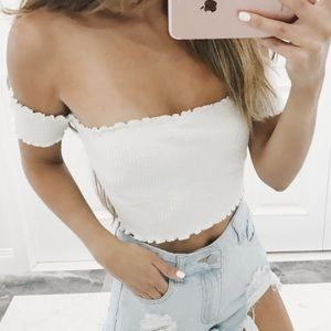 White ribbed off shoulder cropped top
